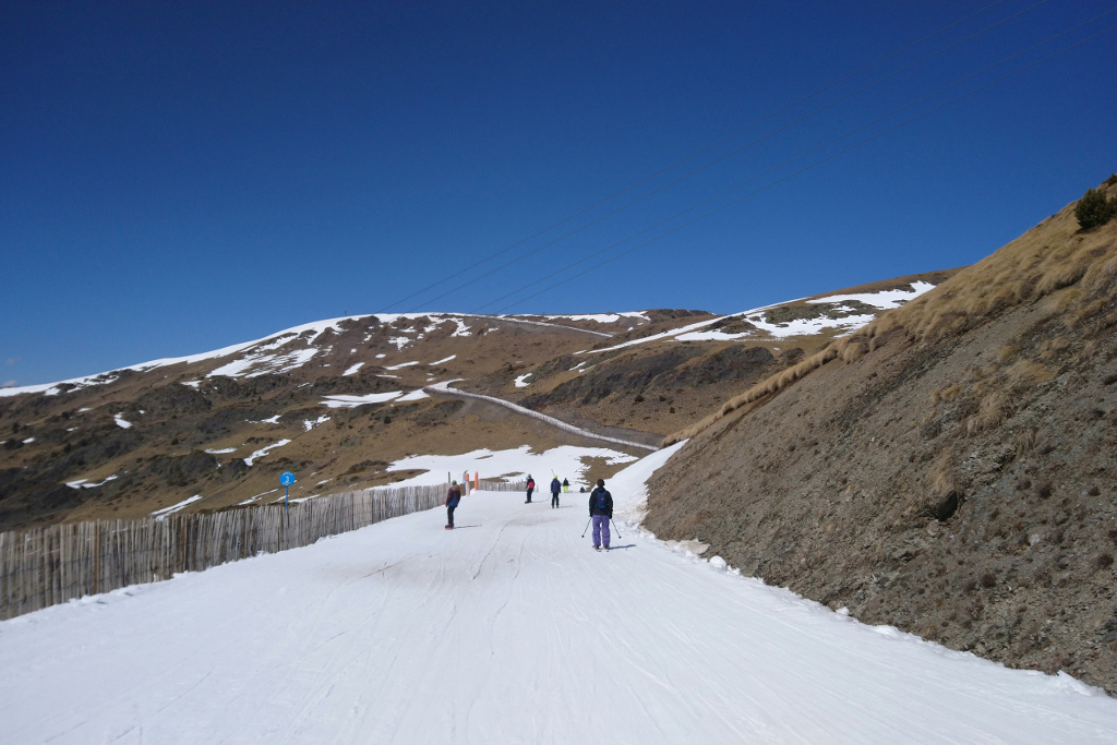Brown ski hills in winter