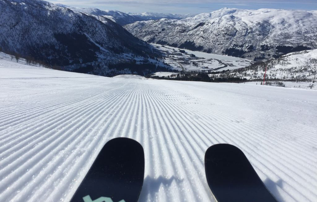 skis on freshly groomed piste