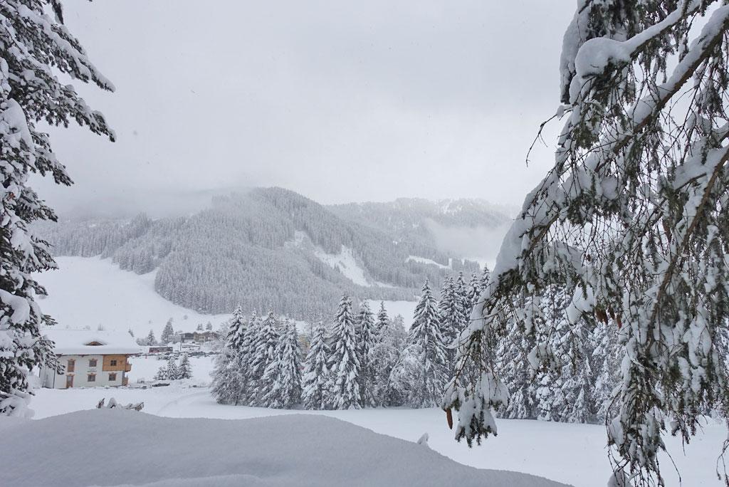 Winterlandschap met verse sneeuw