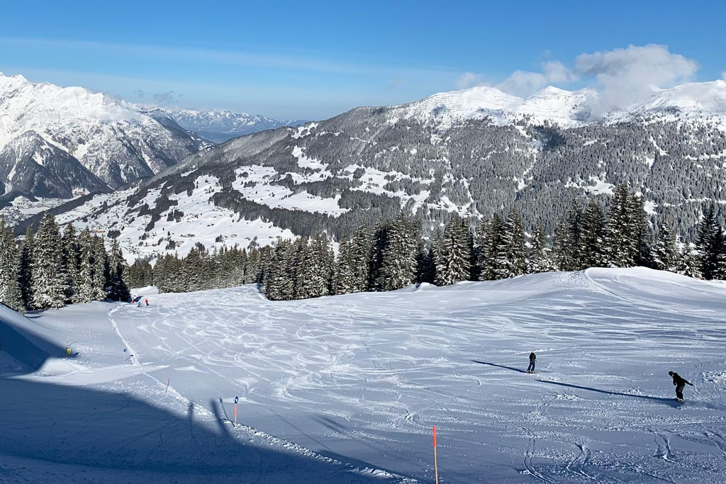Empty pistes on spring ski holiday