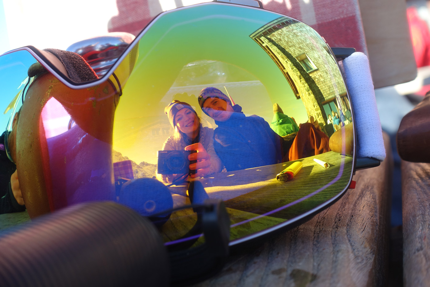 Spiegelbild Foto Skibrille Skiurlaub