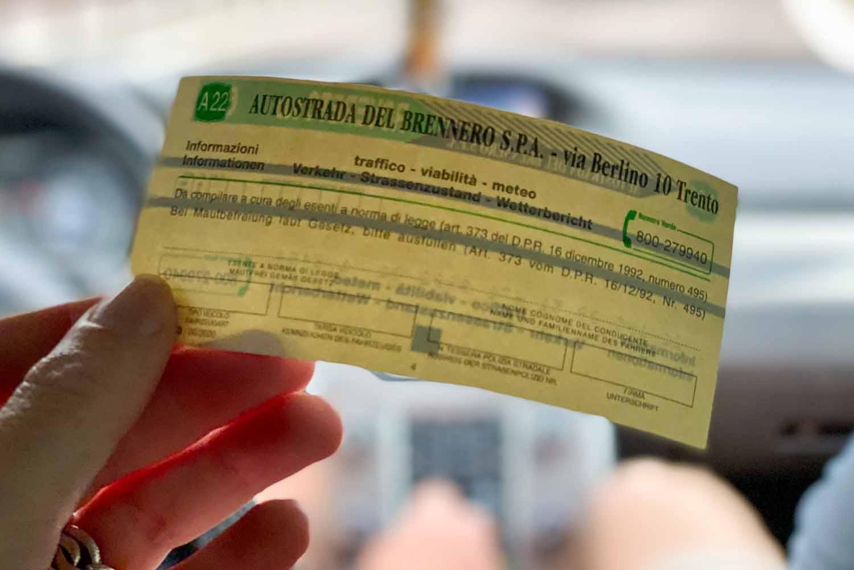 ticket tol Italië