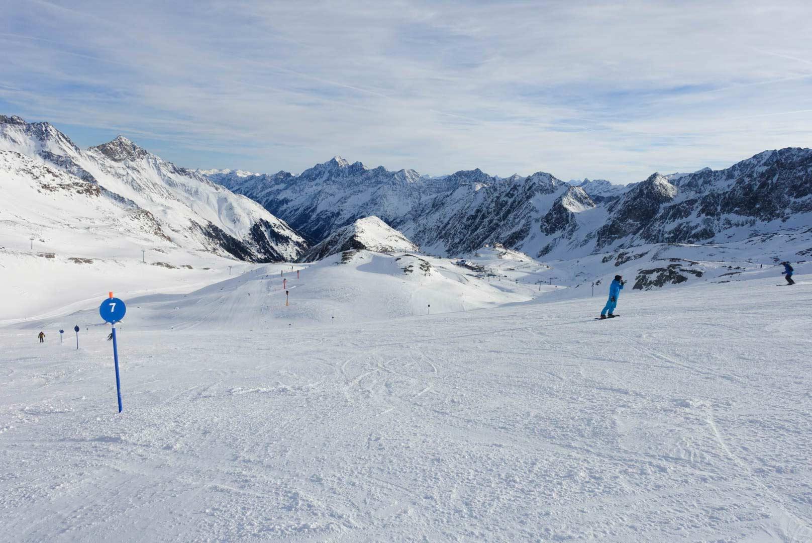 Blauwe piste op de Stubaier Gletscher