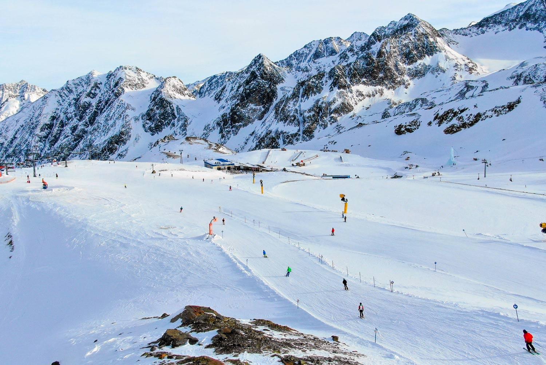 Wintersport in oktober op de Pitztaler Gletscher