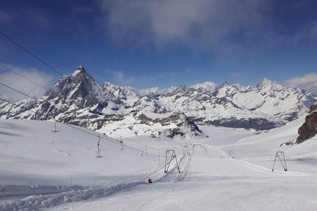 Sunny view of piste in Zermatt