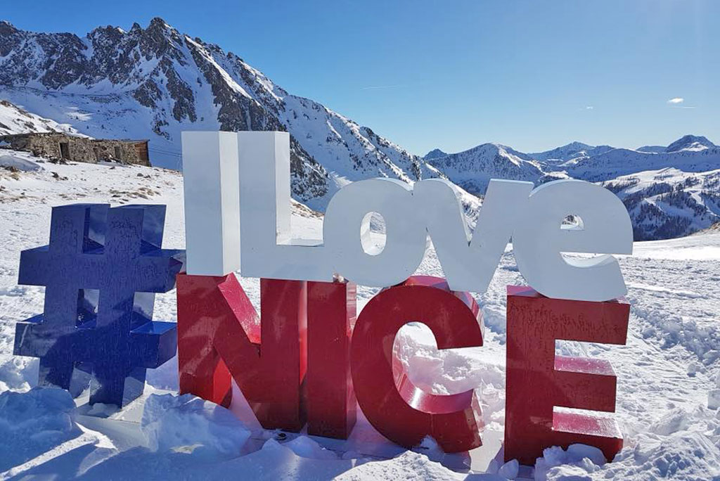 I Love Nice letters written in the snow