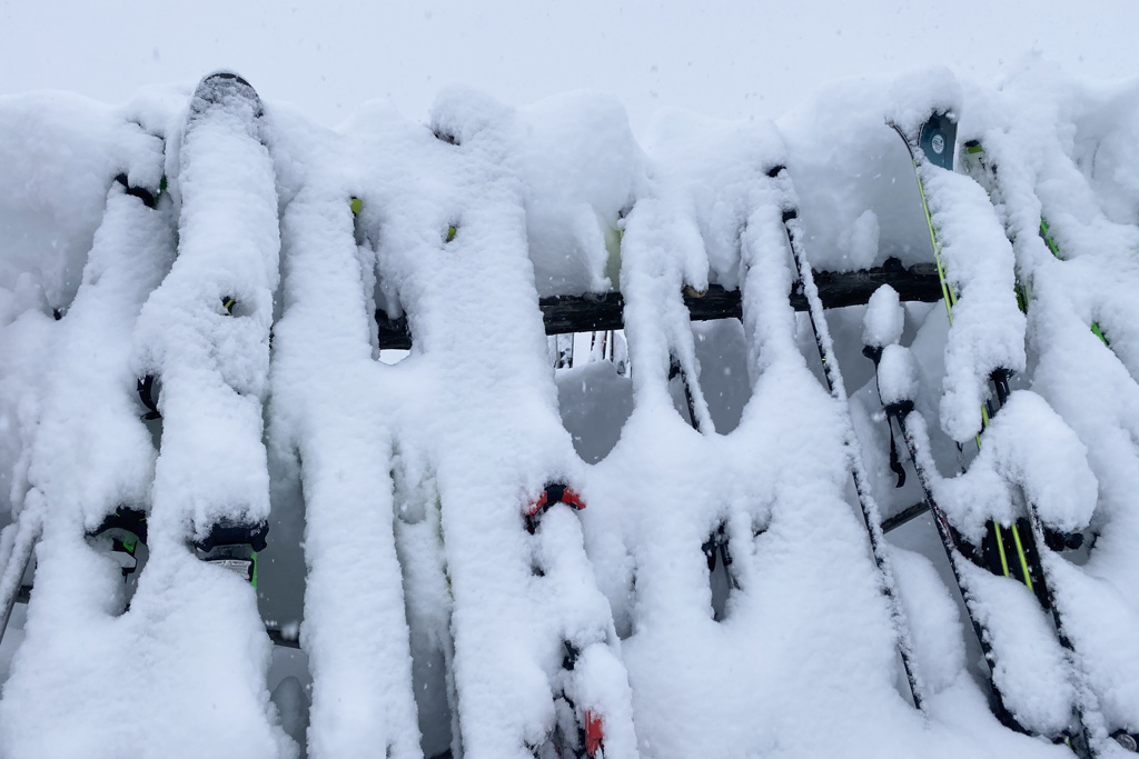 snow-covered skis