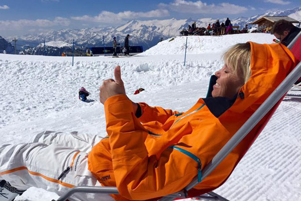 Enjoying the sun during a break from skiing