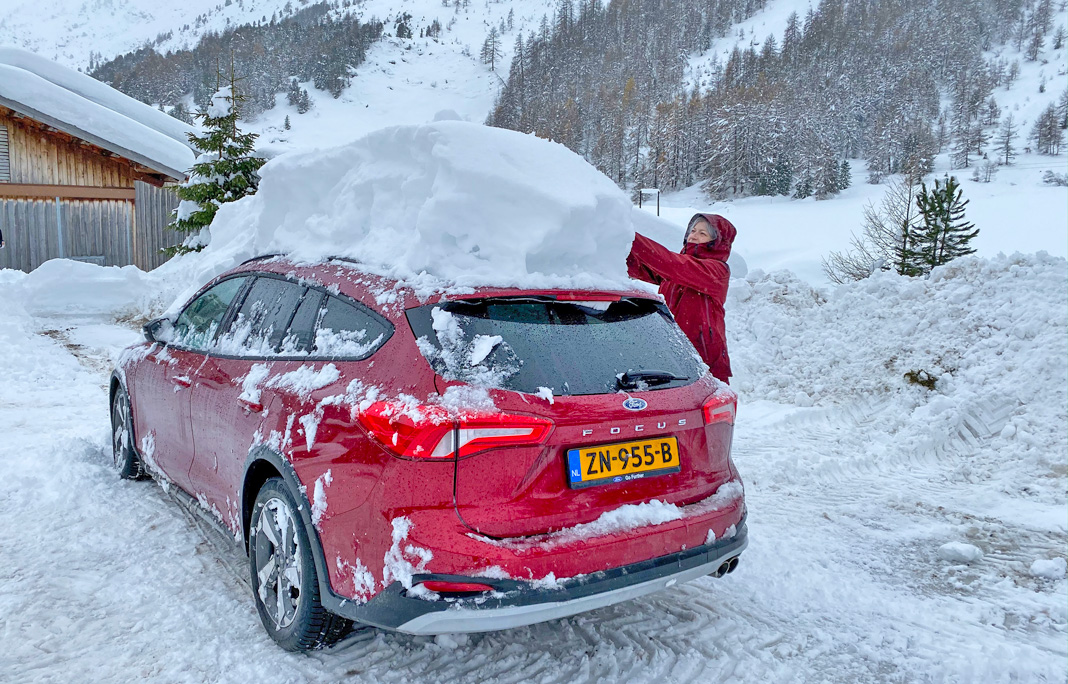 Auto kerst wintersport