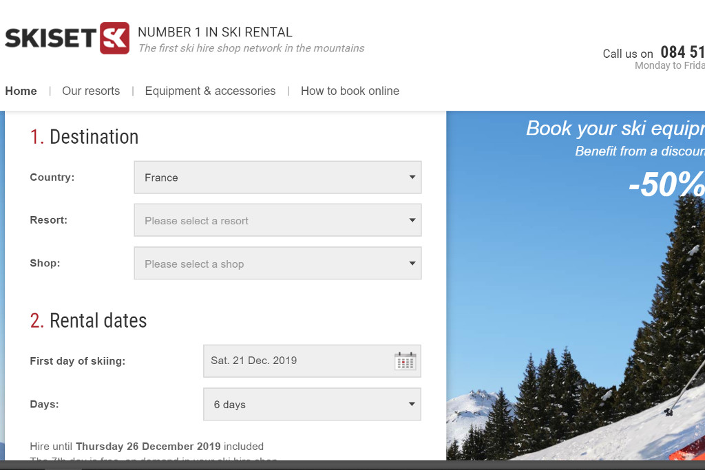 ski hire with skiset online form