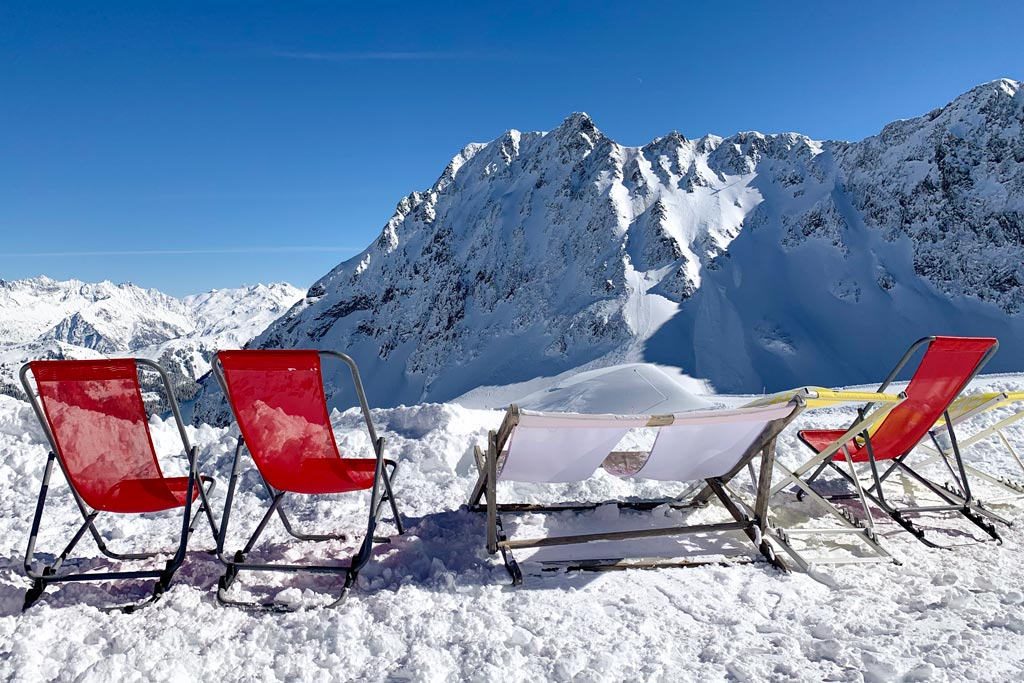 sun loungers in mountain